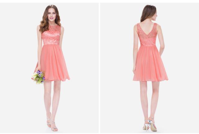 robe de soirée courte corail haut embelli dentelle délicate