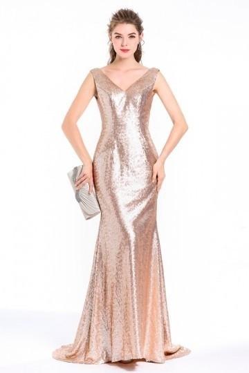 Robe de soirée sexy dorée sirène longue à paillettes