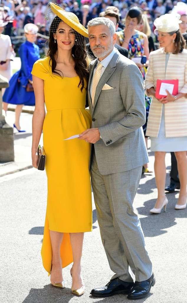 robe jaune de Amal Clooney pour aller à mariage du prince Harry et Maghan