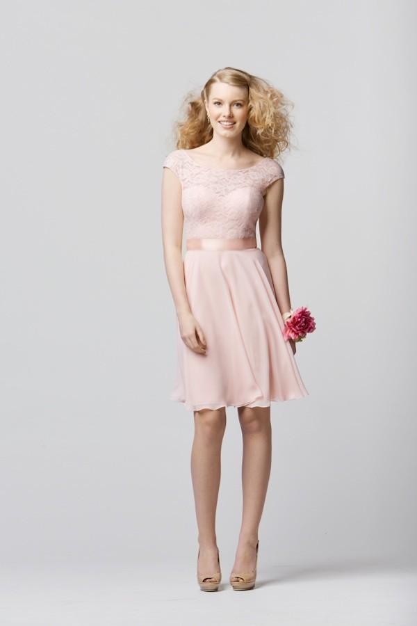 robe de soirée rose courte en dentelle pour mariage