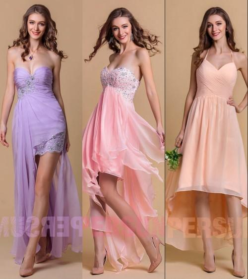 robes de soirée courte devant longue derrière couleurs pastels