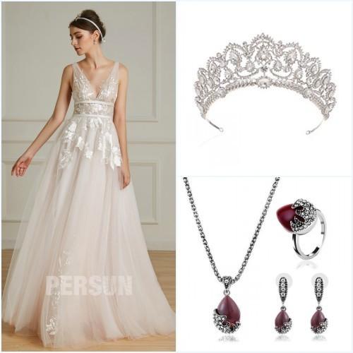 bijoux pour une robe de mariée rose pale appliqué de dentelle 2019