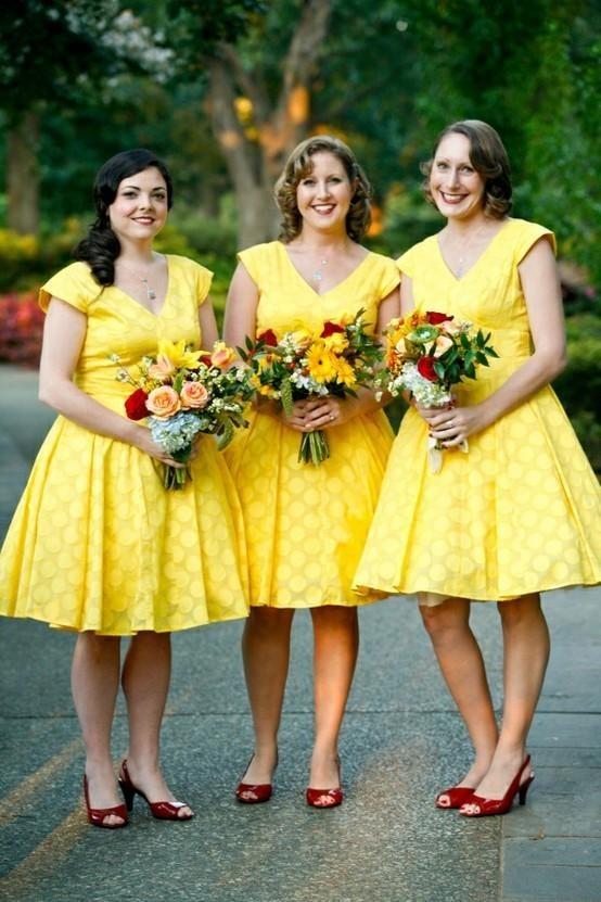 robe jaune courte pour demoiselles d'honneur