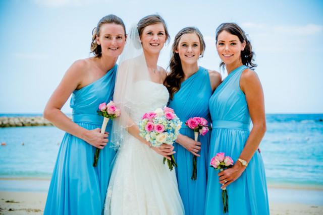robe demoiselle d'honneur bleu asymétrique