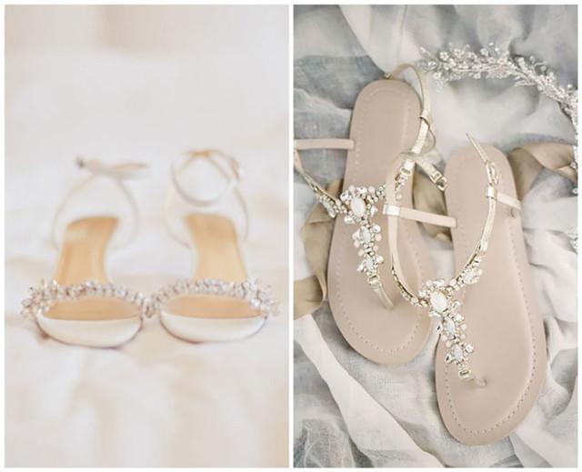 sandales plates orné de strass pour mariage de plage